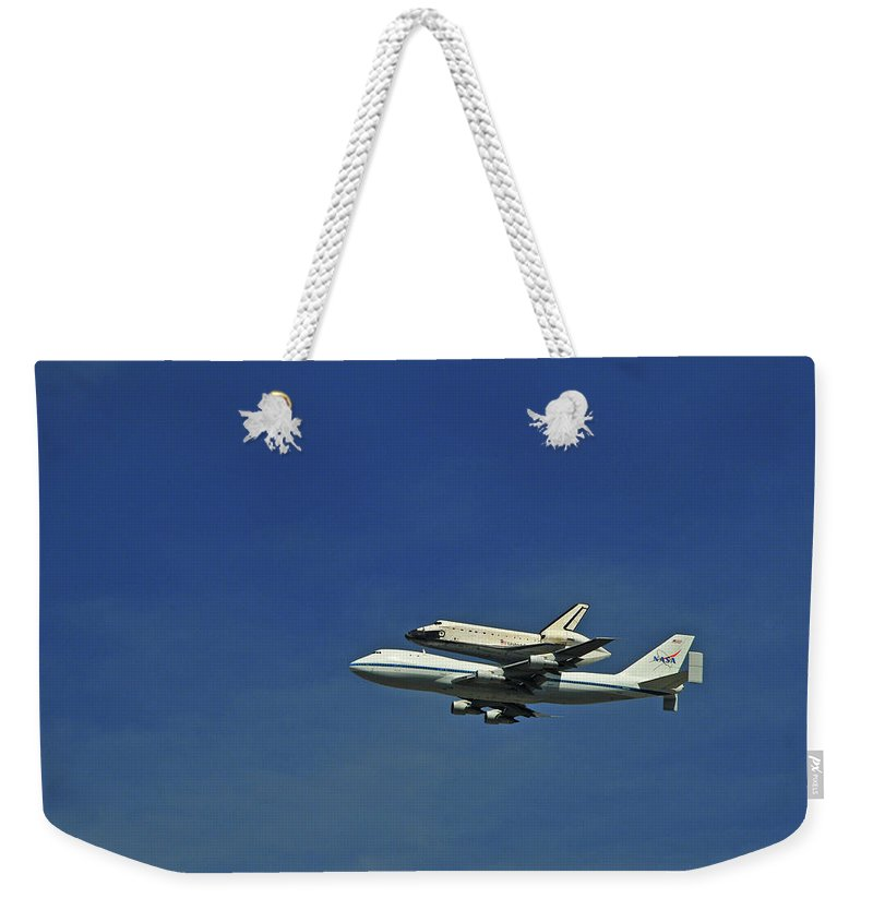 Teamwork Weekender Tote Bag featuring the photograph Final Flight Of The Space Shuttle by Mitch Diamond