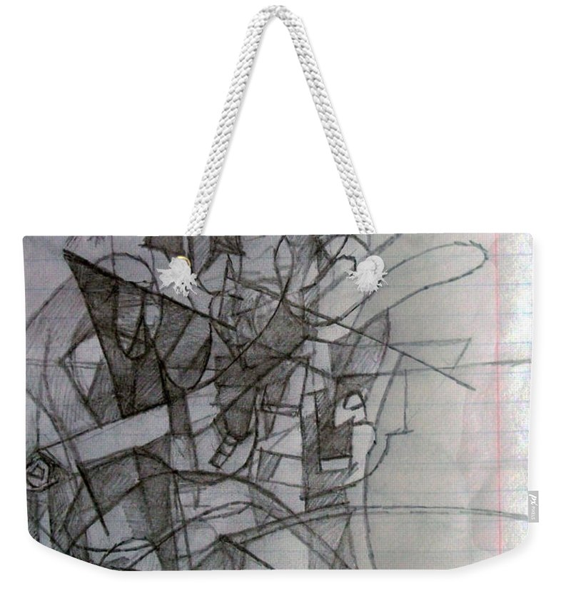 Torah Weekender Tote Bag featuring the drawing Finding Meaning Despite Appearances 2 by David Baruch Wolk
