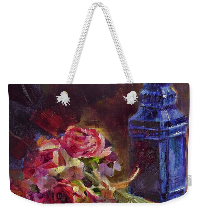 Finer Things Weekender Tote Bag featuring the painting Finer Things Still Life By Karen Whitworth by Karen Whitworth