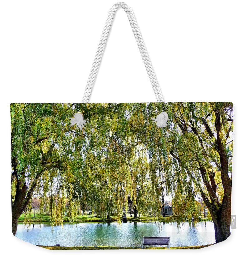 Finger Lakes Weekender Tote Bag featuring the photograph Finger Lakes Weeping Willows by Mitchell R Grosky