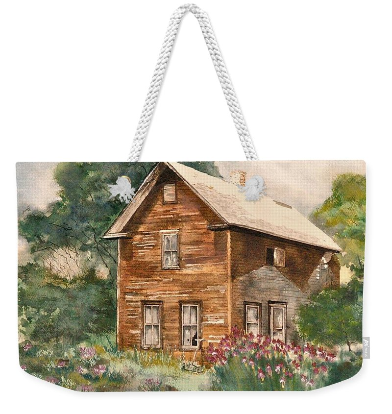 Susan Weekender Tote Bag featuring the painting Finlayson Old House by Susan Crossman Buscho