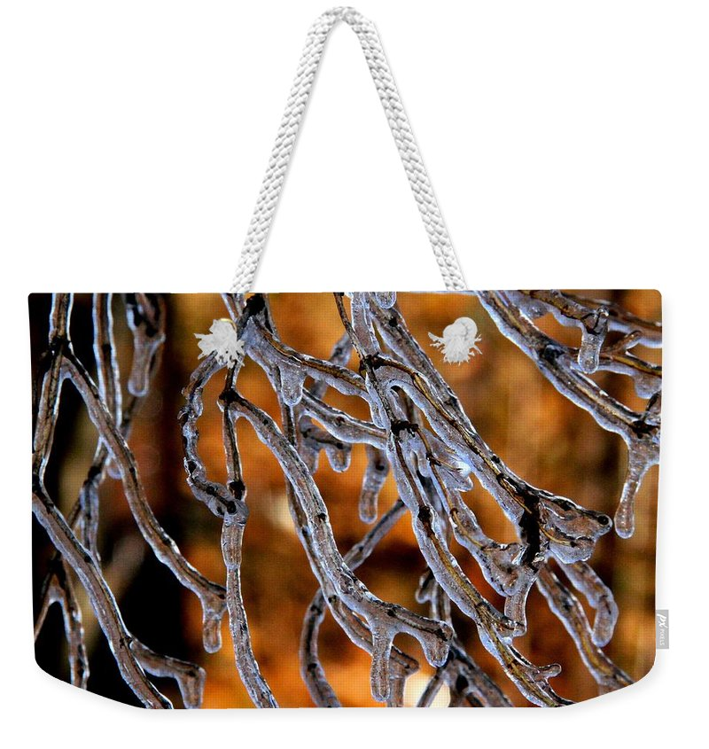 Ice Weekender Tote Bag featuring the photograph Fire And Ice by Doris Potter