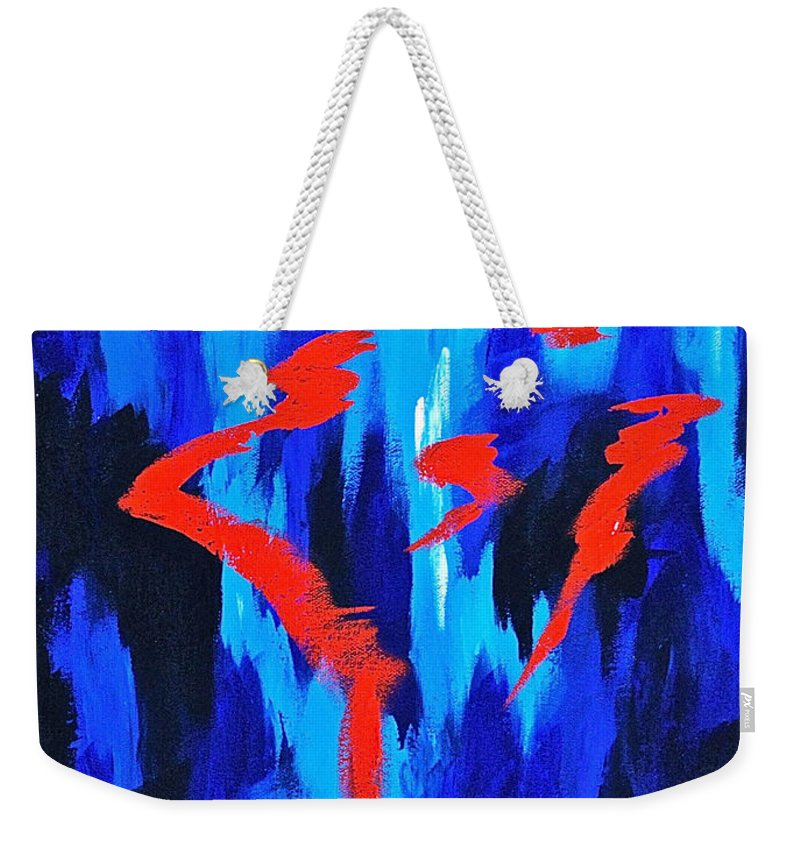 Abstracts By Herschel Fall Red And Blue 3d Weekender Tote Bag featuring the painting Fire And Ice by Herschel Fall