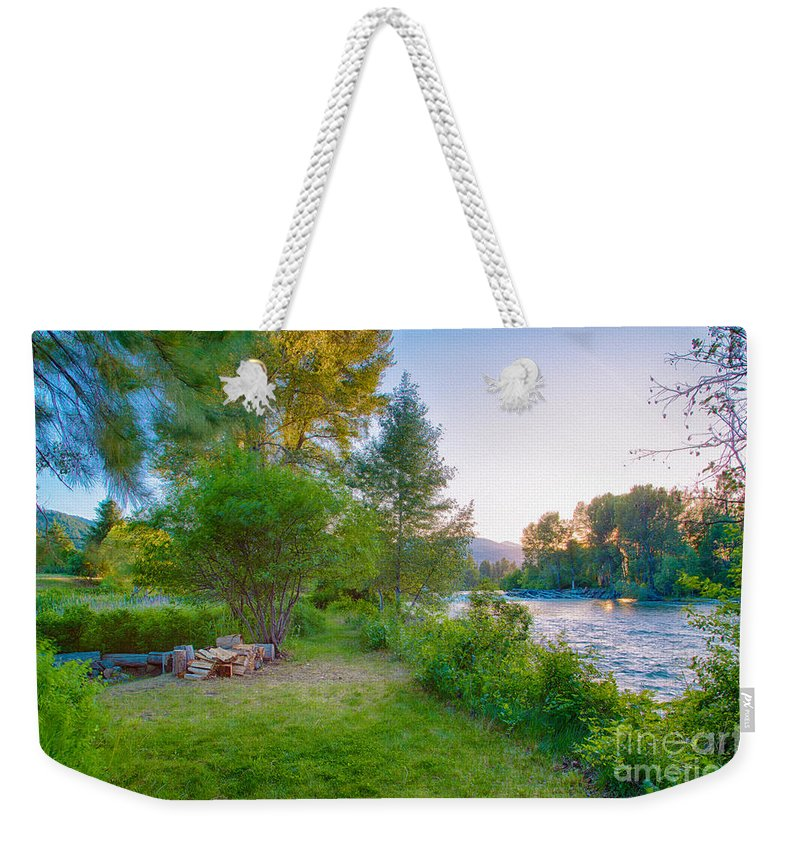2014 Weekender Tote Bag featuring the digital art Fire And Water At Cottonwood Cottage by Omaste Witkowski