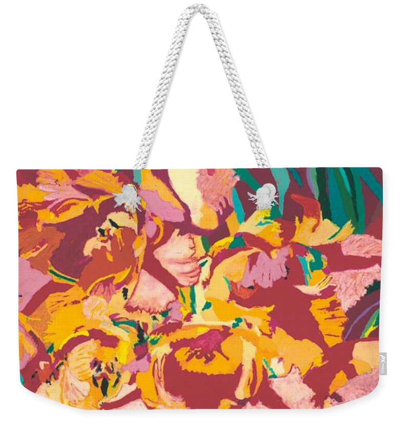 Landscape Weekender Tote Bag featuring the painting Fire Bouquet by Allan P Friedlander