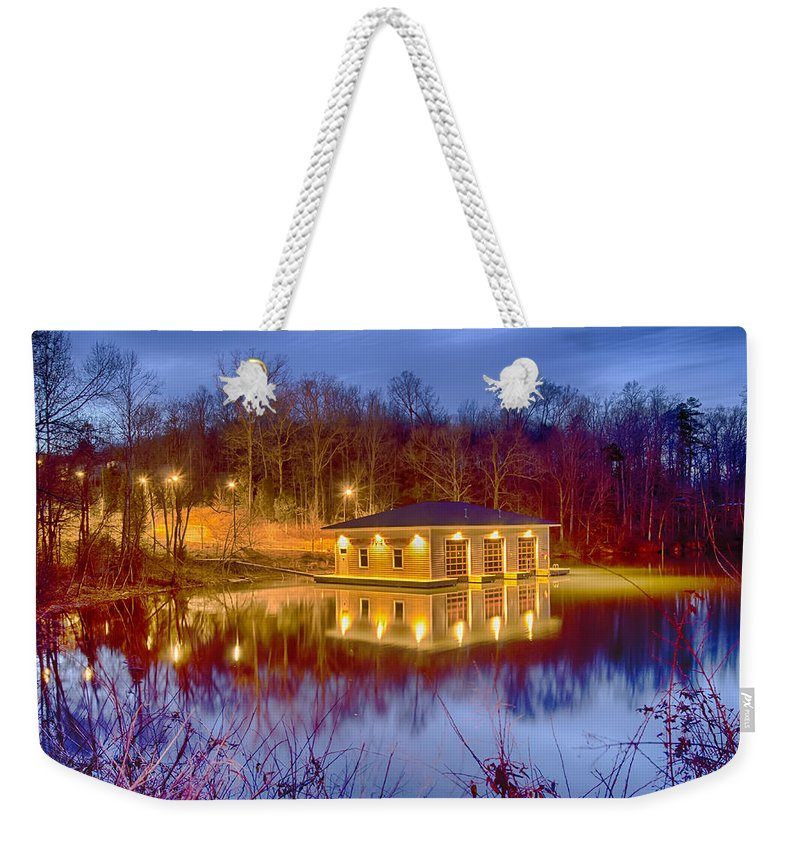 Fire Weekender Tote Bag featuring the photograph Fire Department Rescue Building On Water by Alex Grichenko