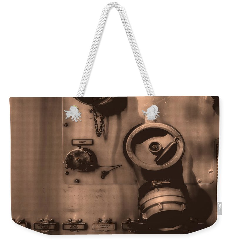 Firetruck Weekender Tote Bag featuring the photograph Fire Engine Number Six by Bob Orsillo