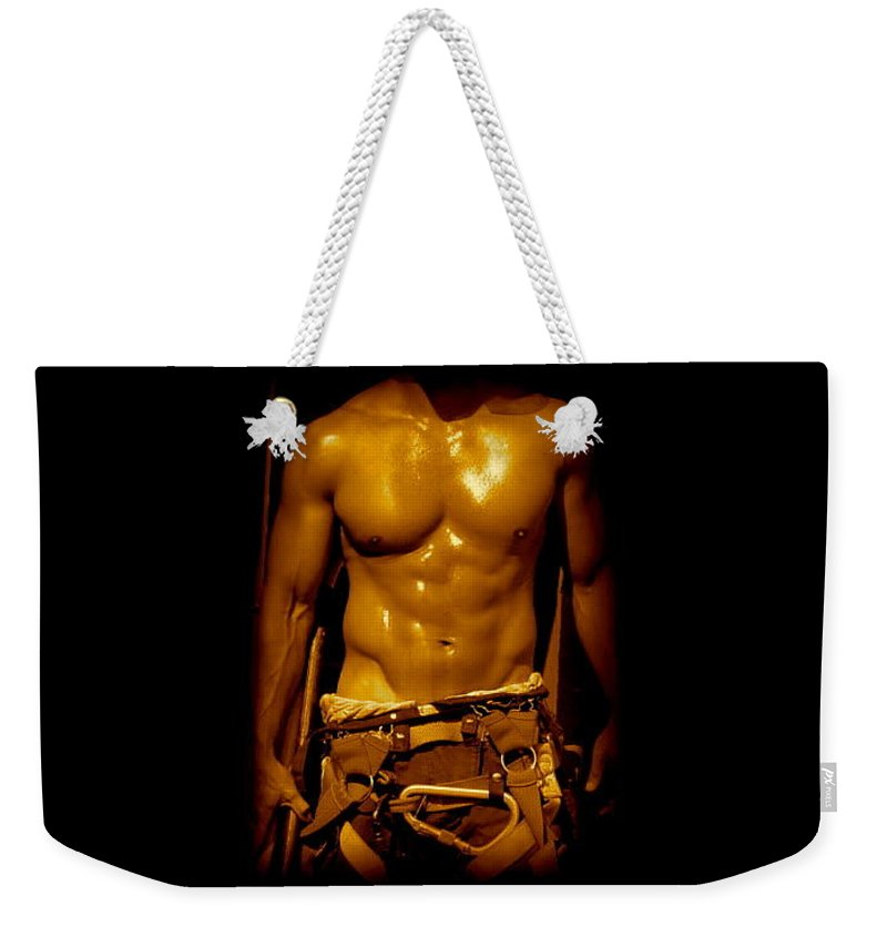 Iphone 5 Cover Cases Weekender Tote Bag featuring the photograph Fire Fighter In New York by Monique's Fine Art