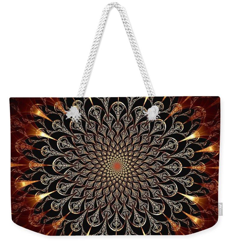 Computer Weekender Tote Bag featuring the digital art Fire Glyph by Anastasiya Malakhova