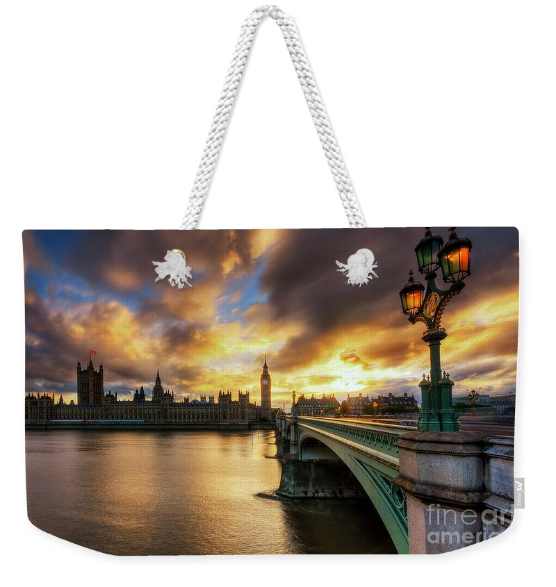 Yhun Suarez Weekender Tote Bag featuring the photograph Fire In The Sky by Yhun Suarez