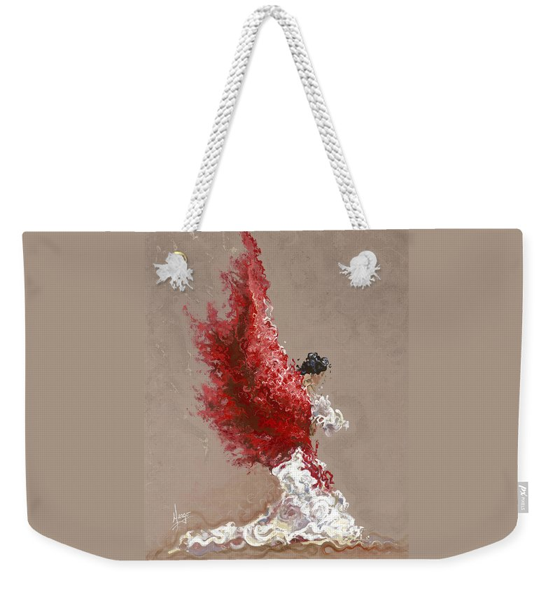Dance Weekender Tote Bag featuring the painting Fire by Karina Llergo