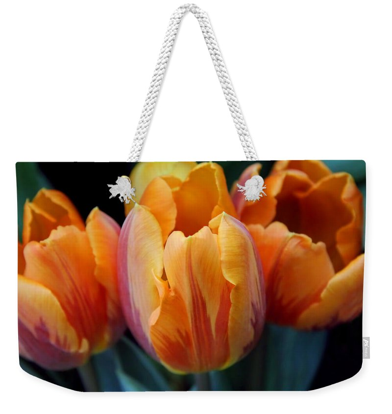 Tulip Weekender Tote Bag featuring the photograph Fire Orange Tulip Flowers by Jennie Marie Schell