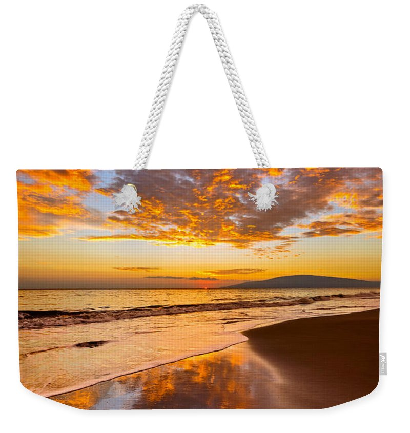 Beach Weekender Tote Bag featuring the photograph Fire Over Lahaina by Jamie Pham