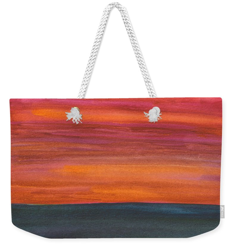 Fire Weekender Tote Bag featuring the painting Fire Sky Over The Sea by Mickey Krause