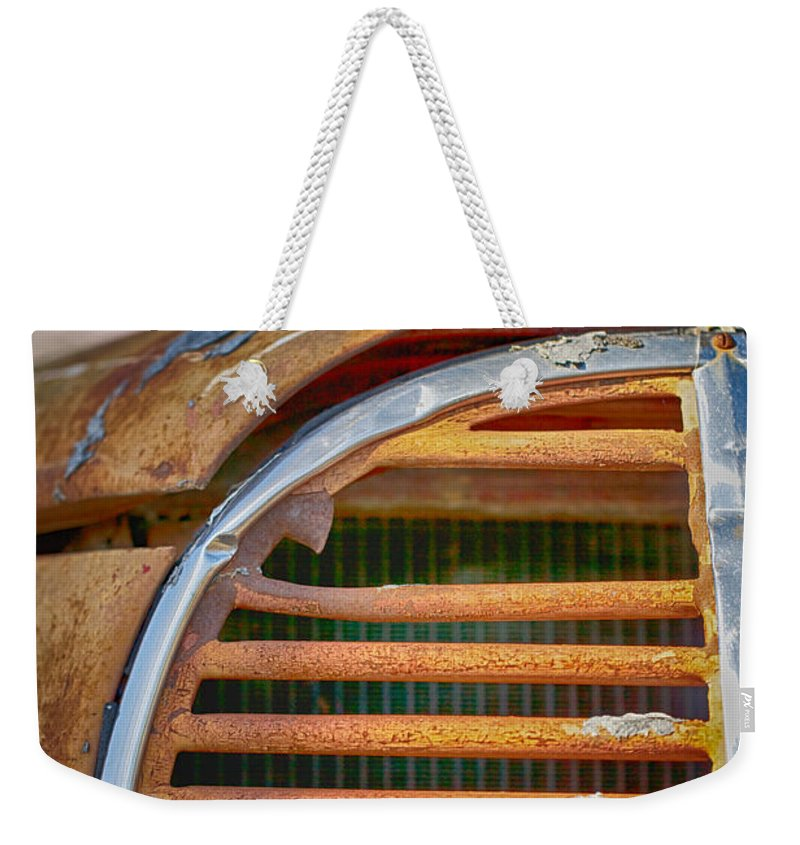 Fire Truck Weekender Tote Bag featuring the photograph Fire Truck Grill by Erika Weber