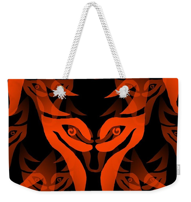 Wolf Weekender Tote Bag featuring the digital art Fire Wolf by Barbara Moignard