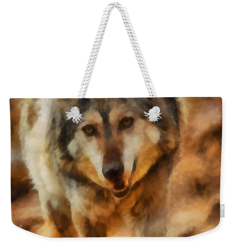 Wolf Weekender Tote Bag featuring the digital art Fire Wolf by Ernie Echols