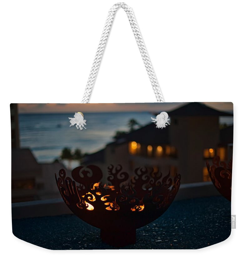 Hawaii Weekender Tote Bag featuring the photograph Firebowl At Night by Dan McManus