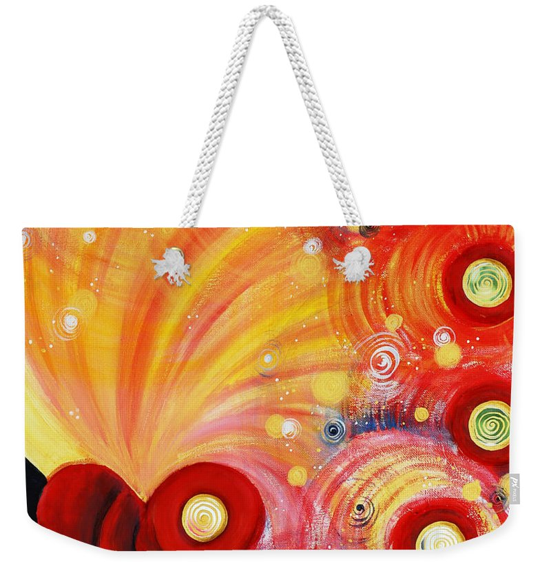 Fire Weekender Tote Bag featuring the painting Fired Heart by Catt Kyriacou