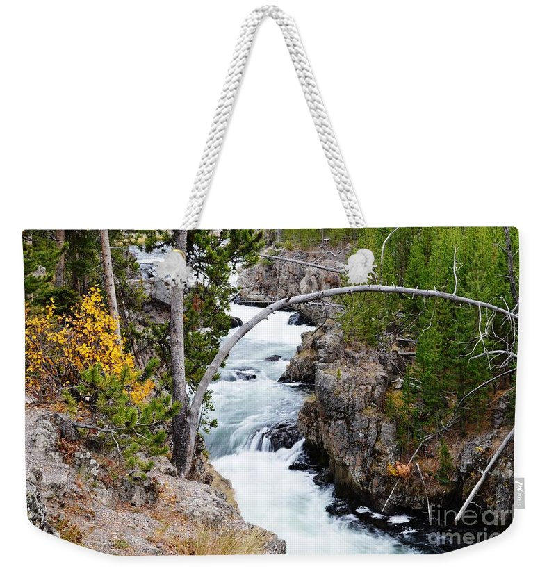 Waterfalls Weekender Tote Bag featuring the photograph Firehole Falls by Deanna Cagle