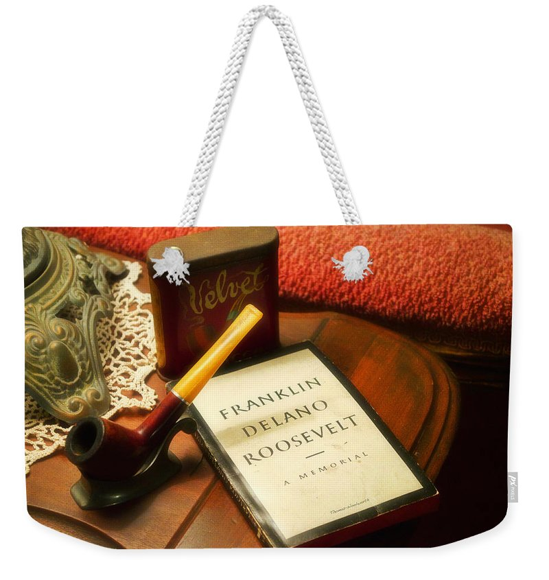 Book Weekender Tote Bag featuring the photograph Fireside Chats With Fdr 05 With A Pipe And Book by Thomas Woolworth