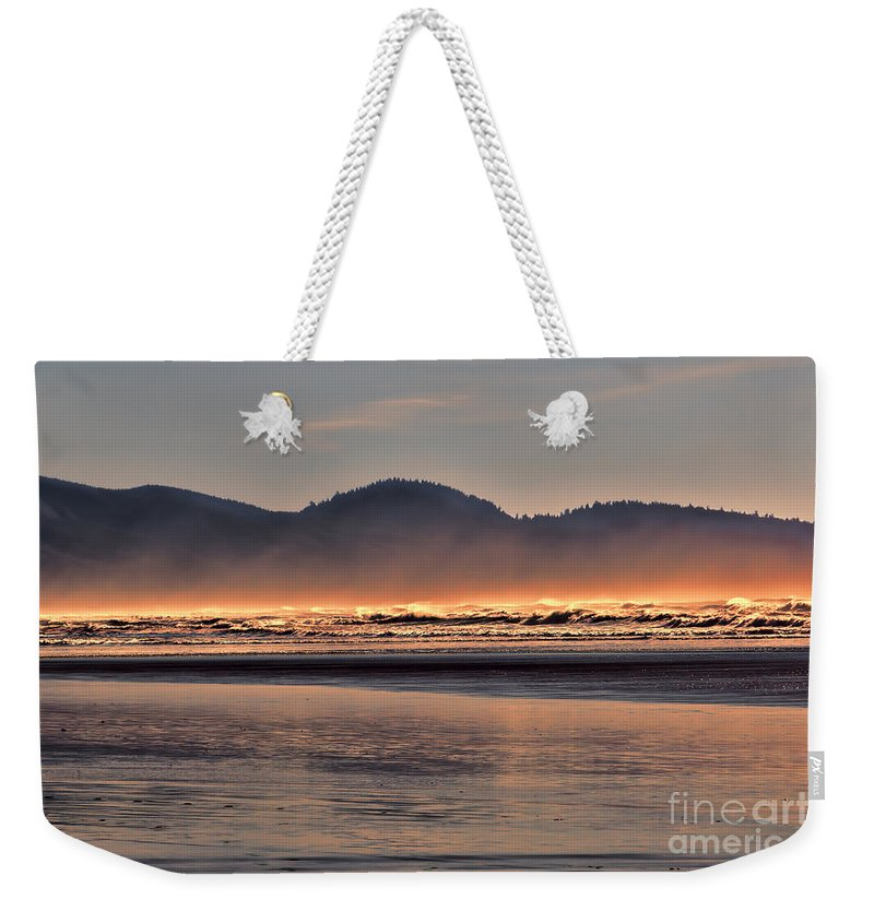 Oregon Weekender Tote Bag featuring the photograph Firewater by Jon Burch Photography