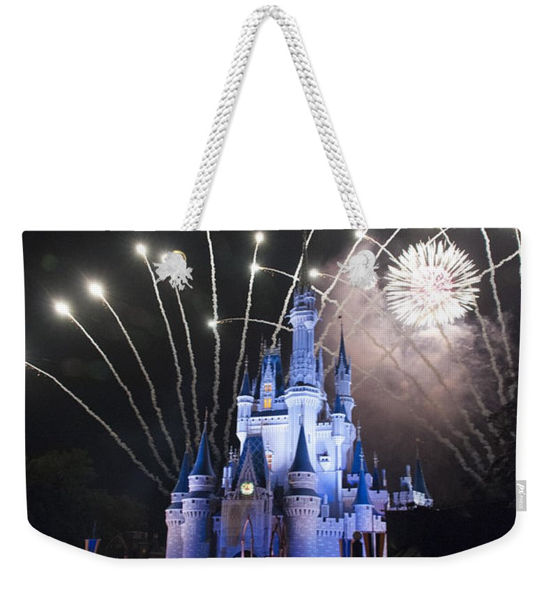 Disney World Weekender Tote Bag featuring the photograph Fireworks-0674 by David Lange
