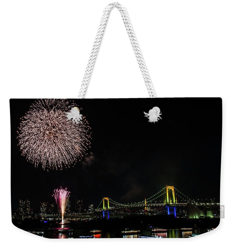 Firework Display Weekender Tote Bag featuring the photograph Fireworks At Rainbow Bridge by ©alan Nee