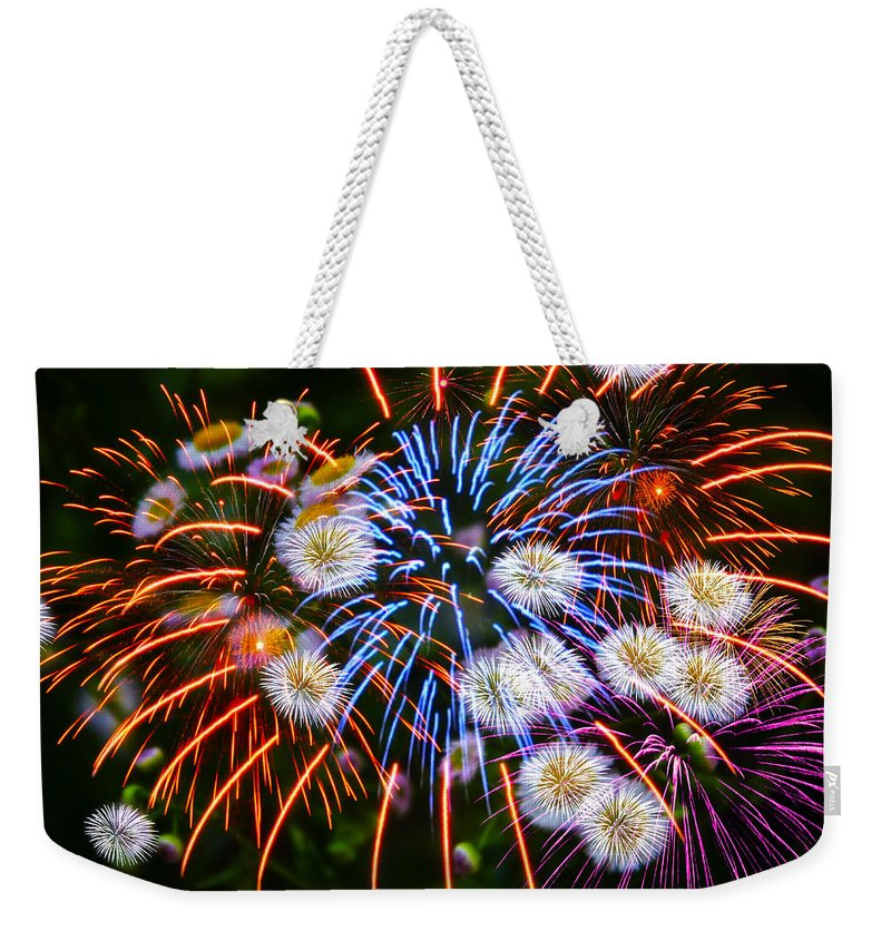 Fireworks Weekender Tote Bag featuring the photograph Fireworks Flower Abstract by Alice Gipson