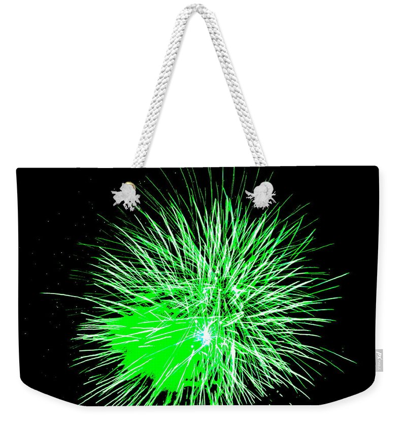 Fireworks Weekender Tote Bag featuring the photograph Fireworks In Green by Michael Porchik