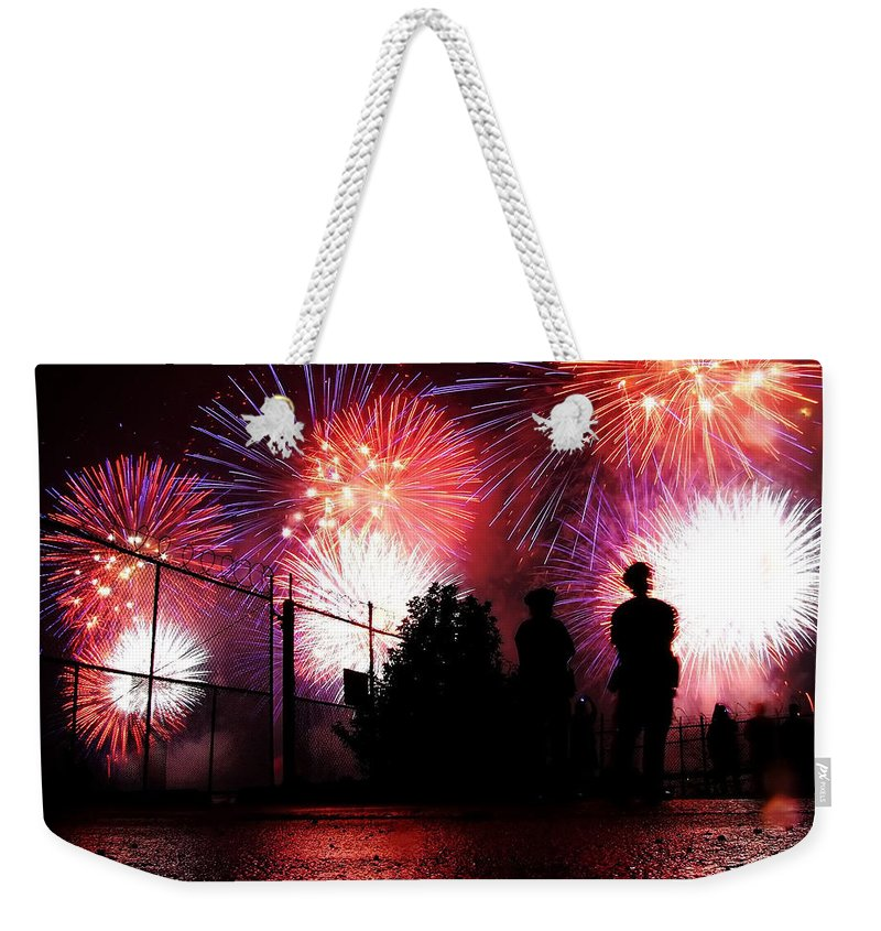 July 4th Fireworks Weekender Tote Bag featuring the photograph Fireworks by Nishanth Gopinathan