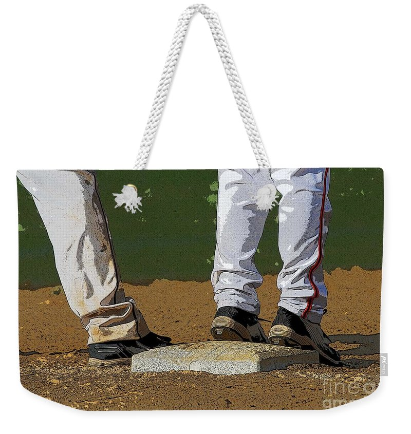 Baseball Weekender Tote Bag featuring the photograph First Base by Cindy Manero