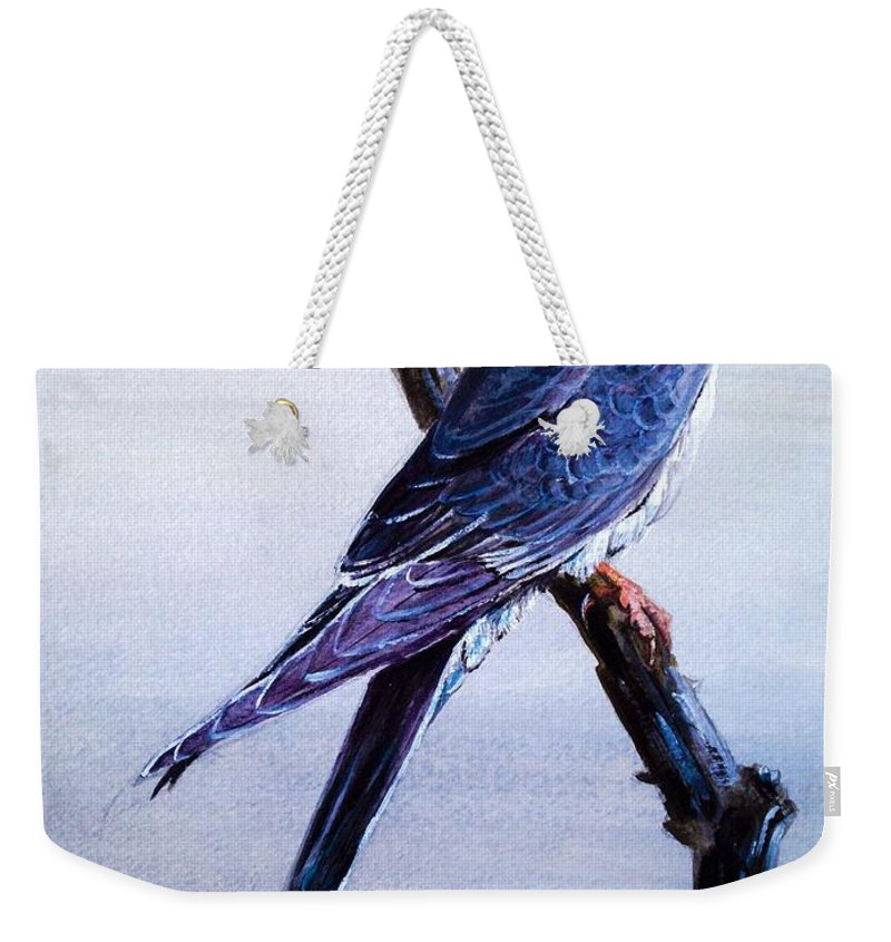 Bird Weekender Tote Bag featuring the painting First Bird Painting by Alban Dizdari