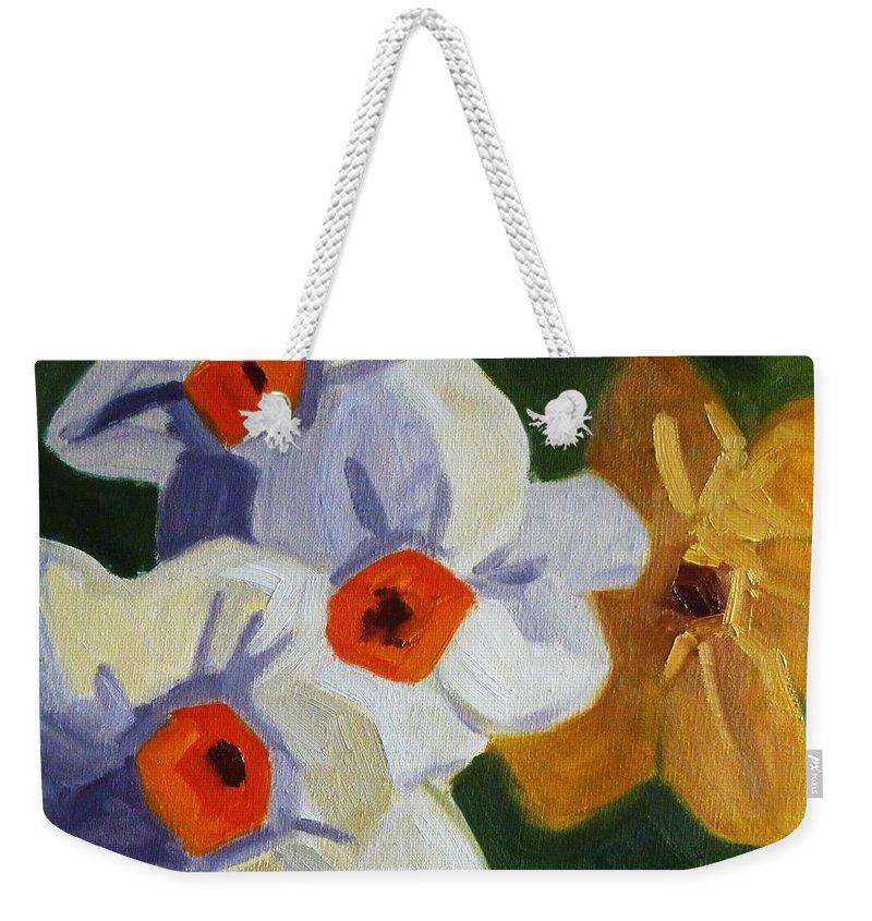 Oregon Weekender Tote Bag featuring the painting First Blooms by Nancy Merkle