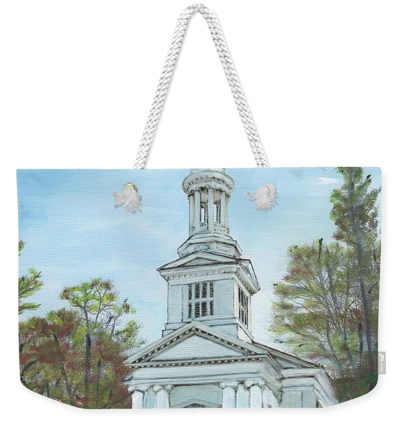 Sandwich Weekender Tote Bag featuring the painting First Church Sandwich Ma by Cliff Wilson