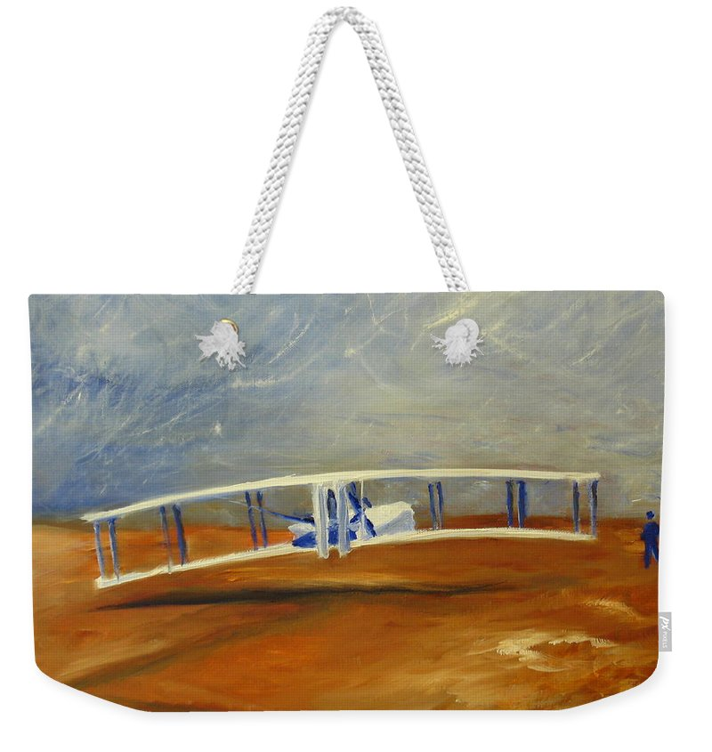 Wright Brothers Weekender Tote Bag featuring the painting First Flight Aka Kittyhawk Dream by Tina Swindell