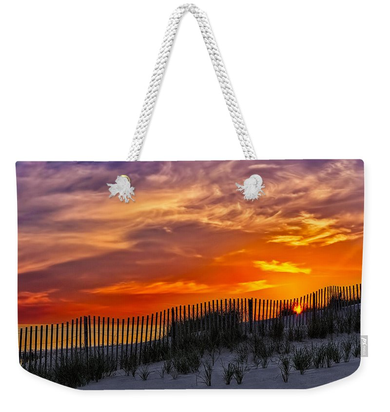 Cape Weekender Tote Bag featuring the photograph First Light At Cape Cod Beach by Susan Candelario