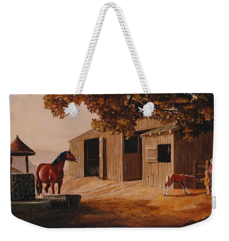 Farm Weekender Tote Bag featuring the painting First Meeting by Duane R Probus
