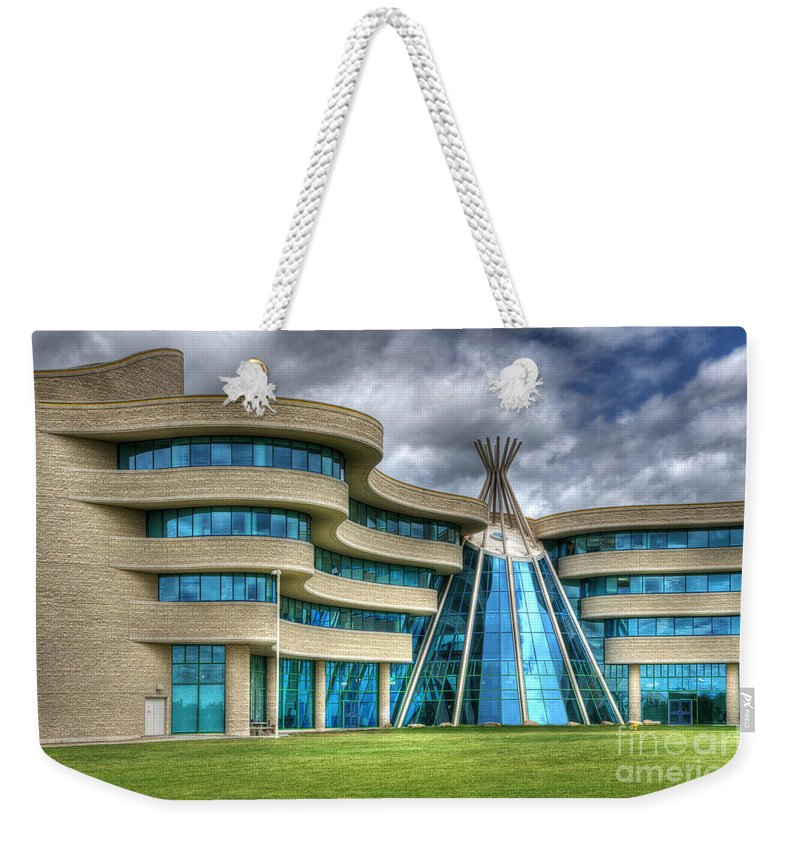Architecture Weekender Tote Bag featuring the photograph First Nations University Of Canada by Bob Christopher
