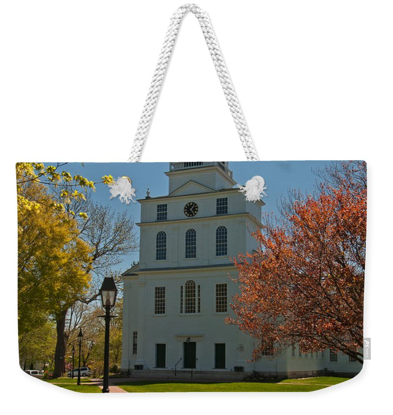 first Parish Church Weekender Tote Bag featuring the photograph First Parish Church by Paul Mangold