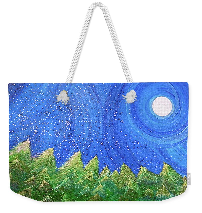 Snow Weekender Tote Bag featuring the painting First Snow By Jrr by First Star Art