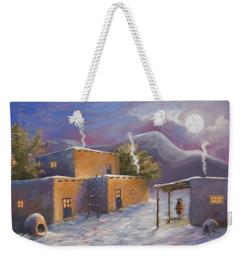 Snow Weekender Tote Bag featuring the painting First Snow by Jerry McElroy