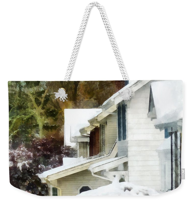 Snow Weekender Tote Bag featuring the photograph First Snow by Susan Savad