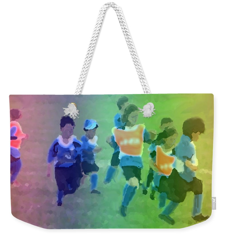 Children Weekender Tote Bag featuring the digital art First Soccer Game by Ian MacDonald