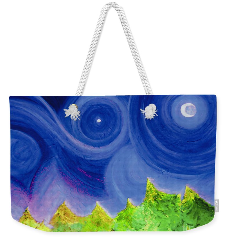 Trees Weekender Tote Bag featuring the painting First Star By Jrr by First Star Art