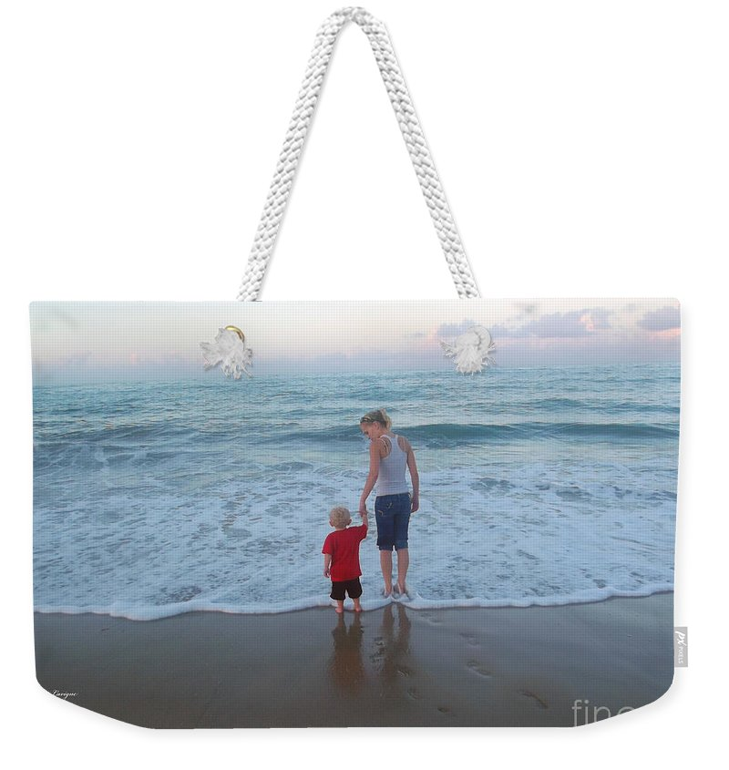 Ocean Weekender Tote Bag featuring the photograph First Time At The Beach by Jennifer Lavigne