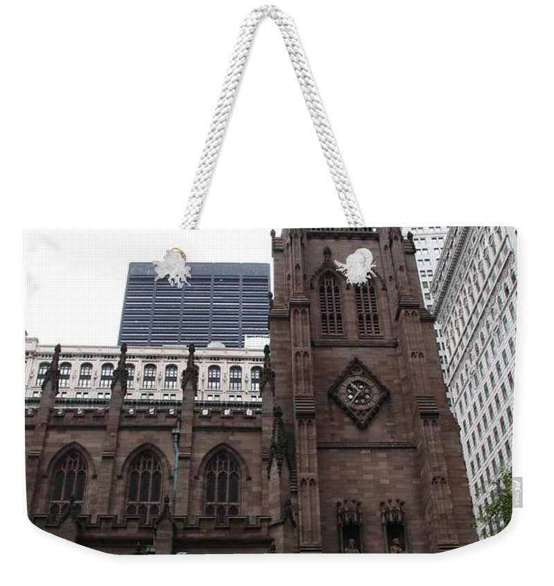 Cathedral Weekender Tote Bag featuring the photograph First Trinity Church Nyc by Christiane Schulze Art And Photography