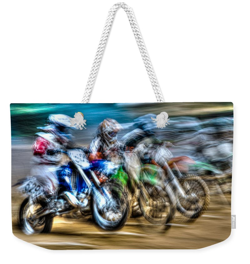 Blur Weekender Tote Bag featuring the photograph First Turn In Sight by Randy Walton