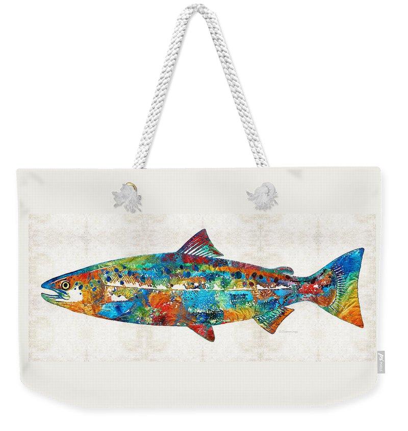 Salmon Weekender Tote Bags