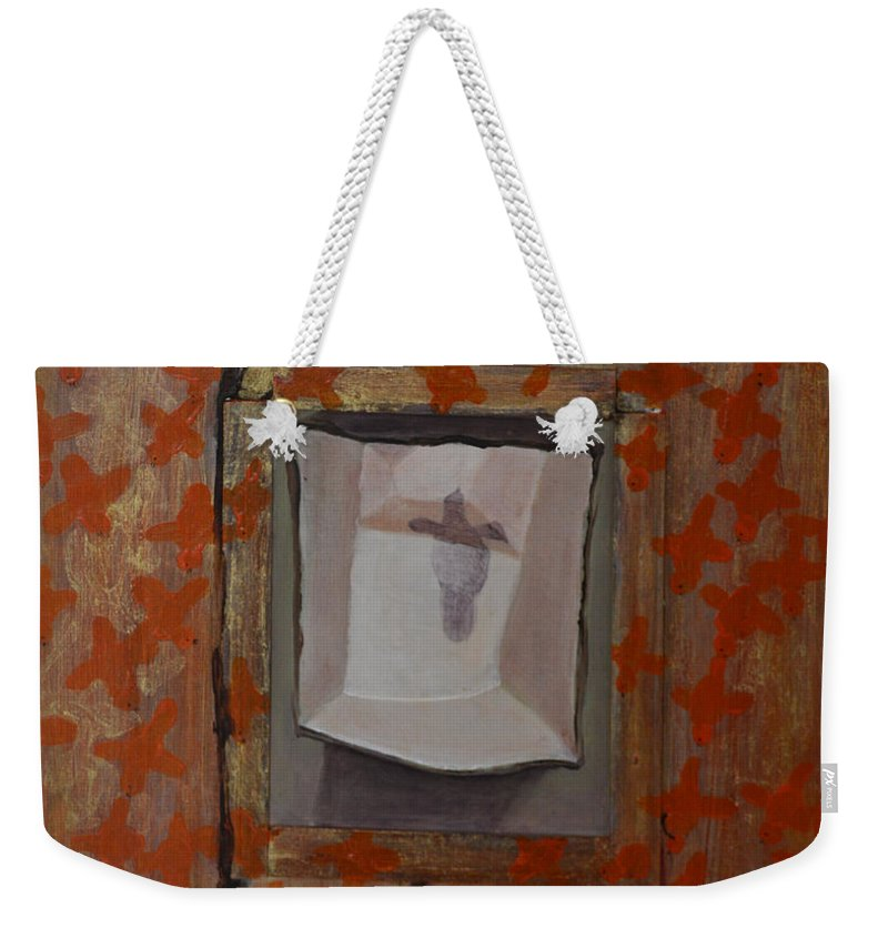 Abstract Outsider Bird Brown Shadow Modern Folk Raw Weekender Tote Bag featuring the painting Fish-like Things Turn Into Frogs Into Birds Framed by Nancy Mauerman